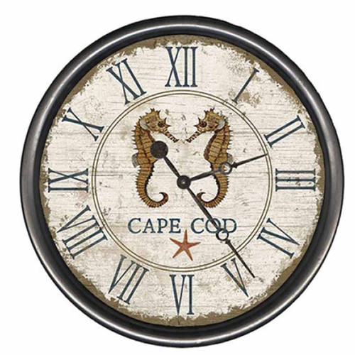 Seahorse clock, Red Horse Signs, distressed wood face with rustic metal rim