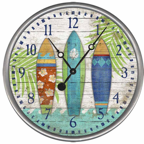 Surfboards Clock, Red Horse Signs, three colorful surfboards on a vintage wooden clock face