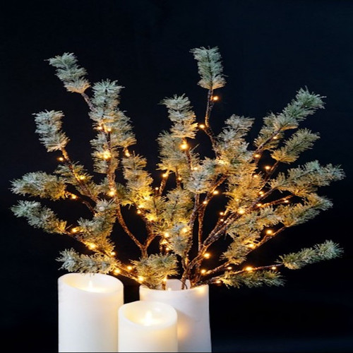 This stunning and unique addition to a centerpiece, floral arrangement or party décor, this branch is full of beautiful sprouts of pine needles delicately illuminated with 72 miniature warm white  lights. Illuminated floral lights are a fun addition to any décor!