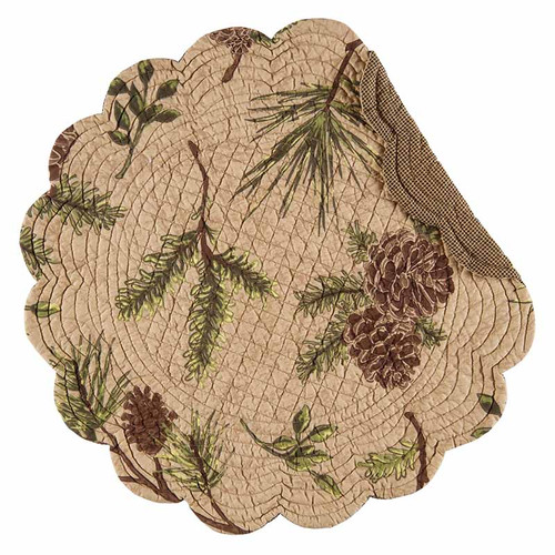 Woodland Retreat, Round Placemat, CandF Home,  cotton place mat with woodland theme, pine cones and pine needles on a tan background.