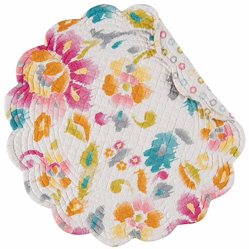 Sasha Placemat, C and F Home, floral pattern in pastel colors on a white background