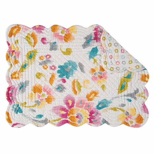 Sasha Pink Placemat, C and F Home, floral pattern in pastel colors on a white background
