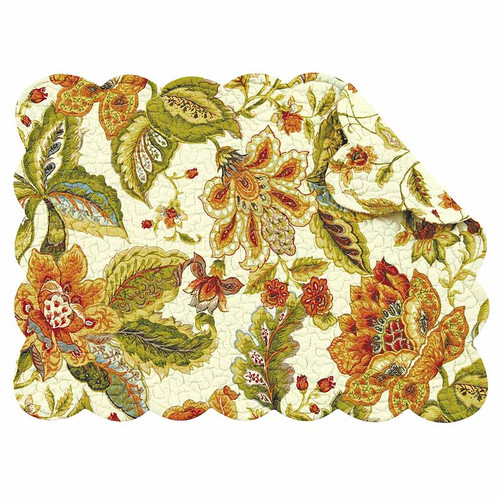 Amelia Rectangle Placemat, C and F Home, floral pattern in rust, red, blue and green on cream background