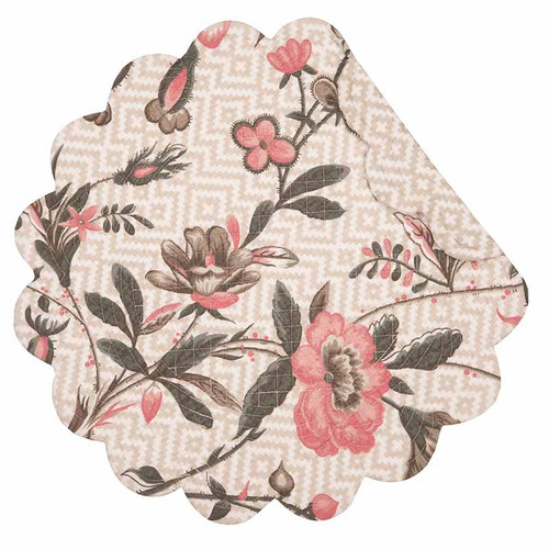 Blair Garden Round Placemat, C and F Home, pink, gray and taupe, Williamsburg floral pattern on cream background