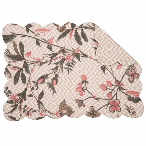 Blair Garden Rectangle Placemat, C and F Home, pink, gray, tan and taupe, Williamsburg floral pattern on cream background