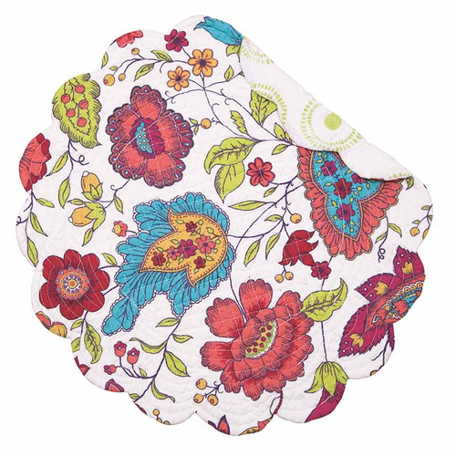 Teagan Round Placemat, Arts and Crafts floral pattern in reds, pinks, yellows, blues, and greens