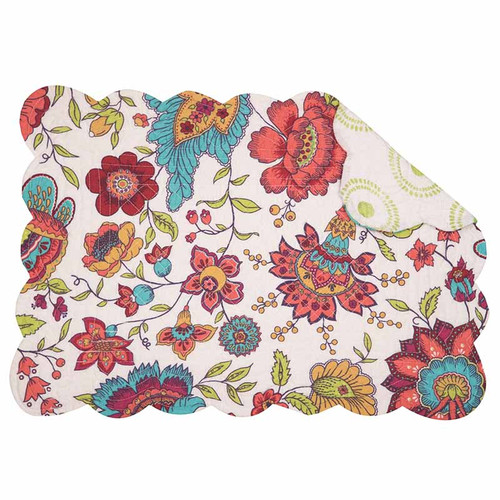 Teagan Placemat, Arts and Crafts floral pattern in reds, pinks, yellows, blues, and greens