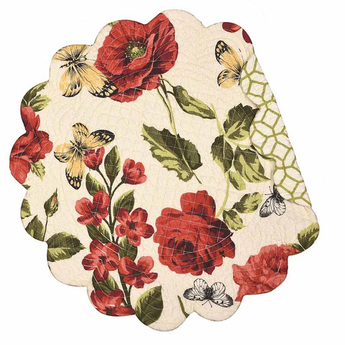 Nina Round Placemat, C and F Home, floral pattern with butterfly, red, pink, yellow, and green on cream backgound