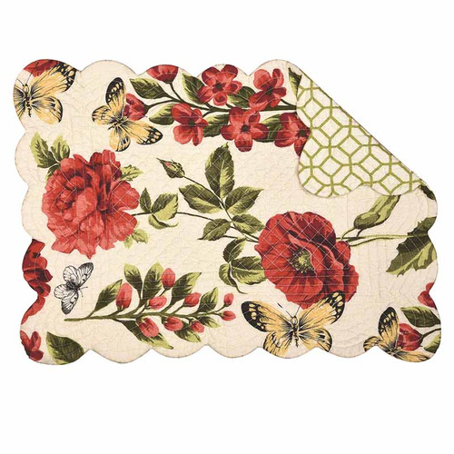 Nina Placemat, C and F Home, floral pattern with butterfly, red, pink, yellow, and green on cream background.