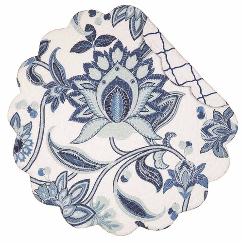 Juliana Round Placemat, Arts and Crafts blue and white floral pattern, reverse side blue lattice on white background