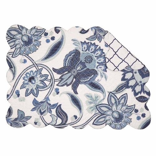 Juliana Round Placemat, Arts and Crafts blue and white floral pattern, reverse side blue lattice on white background, C and F Home
