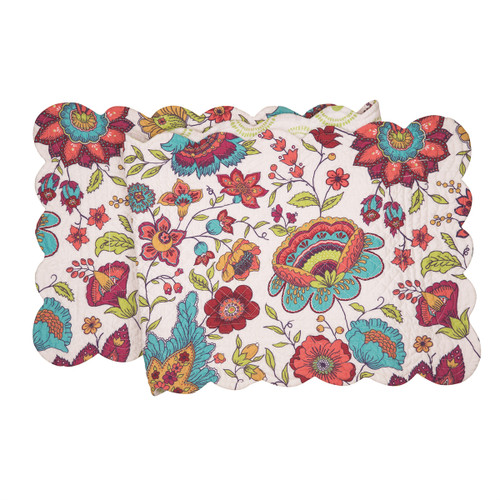 Teagan Table Runner, Arts and Crafts floral pattern in colors of pink, red, blue, yellow and green
