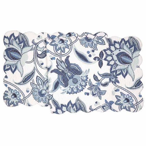 Julianna Table Runner, Arts and Crafts floral pattern in blues and white, C and F Home