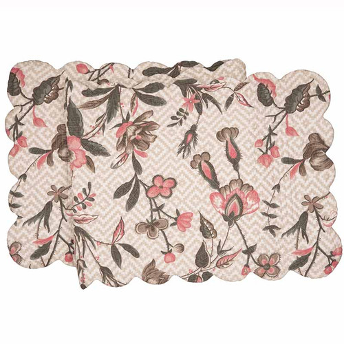 Blair Garden Table Runner, Arts and Crafts floral pattern in Tan, White, Pink, Gray, Taupe, C and F Home