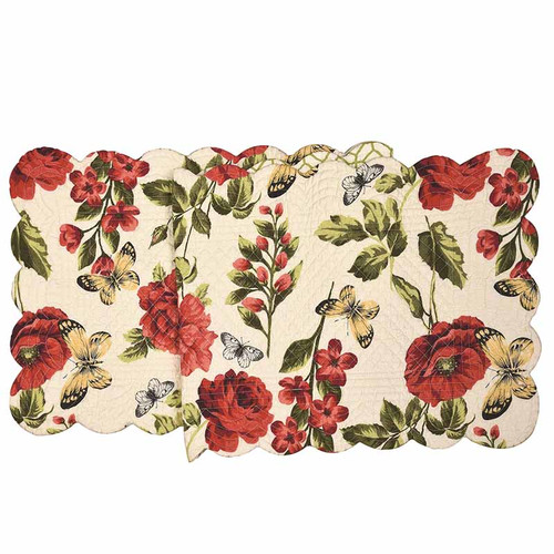Nina Table Runner, Arts and Crafts floral pattern with butterfly in colors of red, yellow, blue, and green on white background, C and F Home