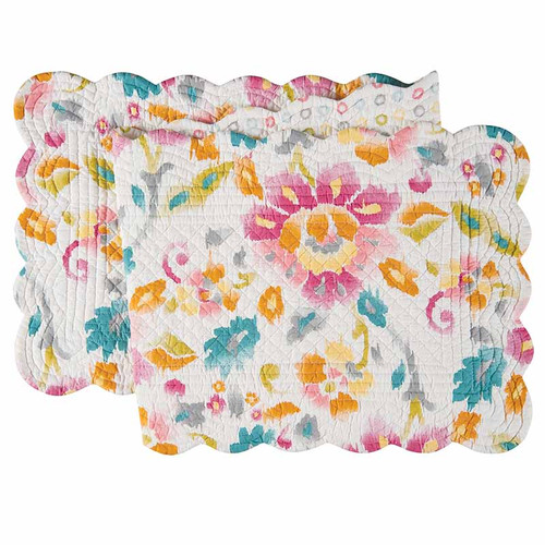 Sasha Table Runner, abstract floral pattern in pastel colors of pink, red, blue, yellow and green, C and F Home