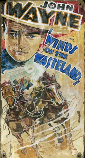 Winds of the Wasteland, starring John Wayne, vintage 1936 Classic Western movie poster of the Duke and a rushing stagecoach, mounted on distressed wood, Red Horse Signs