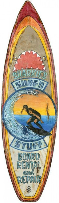 Sharkies surfn stuff, rental and repair, vintage surfboard on distressed wood, cut-out, way cool image of surfer riding a wave on a board with shark theme