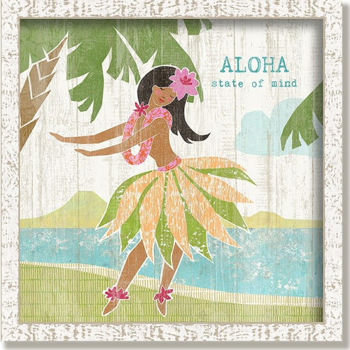 Hula Girl Framed, artist Suzanne Nicoll, Red Horse Signs, a palm tree the ocean, a volcano in the background and a hula girl dances to an Aloha state of mind