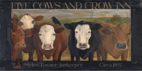Five Cows and Crow Inn, Red Horse Signs, vintage print on distressed wood, image of five cows and a crow standing in a pasture, Terri Palmer Collection