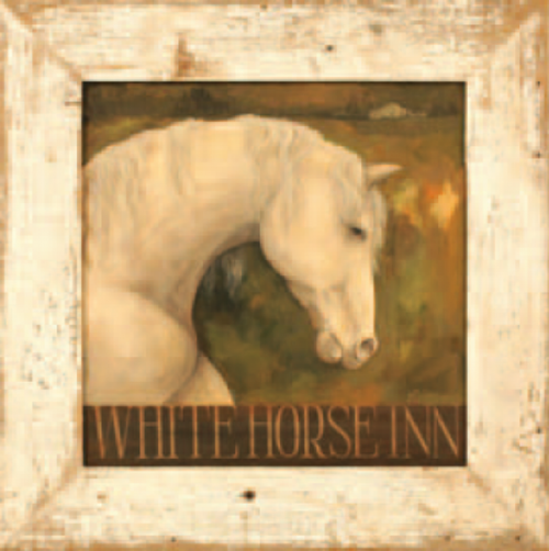 Whitehorse Inn, wall art, vintage image of the head of a white horse on a dark brown background, printed on wood, with rustic white frame, Red Horse Signs