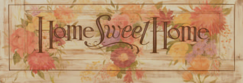 Home Sweet Home, vintage image on distressed wood, Red Horse Signs