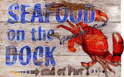 Seafood on the dock, wall art, Red Horse Signs, image of red crab, blue letters, on white distressed wood. Great sign for foodies, the Atlantic deep-sea red crab lovers