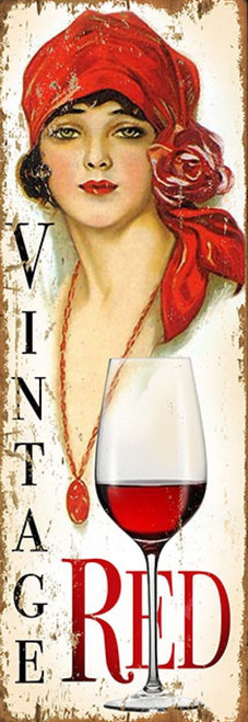 Miss Red, wall art, Red Horse Signs, printed on distressed wood, image of a beautiful brunette in a bright red bandanna, red lips, red necklace, and a delicious glass of red wine