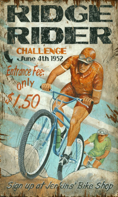 Mt Bike, wall art, Red Horse Signs, vintage image of bicycle rider in red suit racing across a rocky trail against a cloudy blue sky, printed on distressed wood