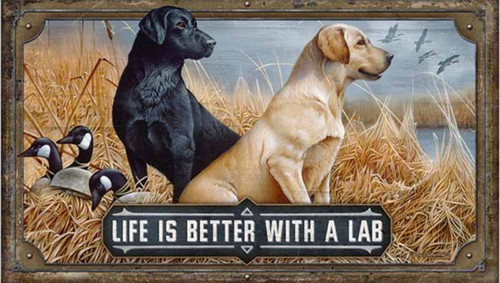 Life is Better with a Lab, wall art, Red Horse Signs, image of black and golden lab with goose decoys, sitting by the lake, printed on distressed wood