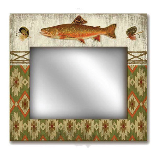 Adirondack Mirror, Red Horse Signs, southwest pattern, rainbow trout, fishing lures, printed on distressed wood, great gift for the angler and the fisherman.