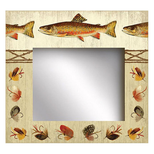 Catch & Release Mirror, Red Horse Signs, rainbow trout, fishing lures motif, printed on distressed wood, artist Suzanne Nicoll, great gift for the angler and the fisherman.