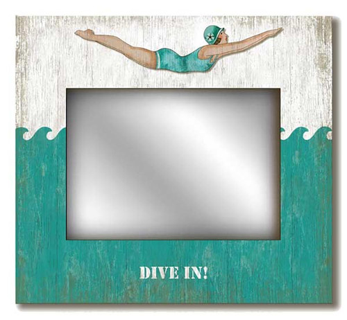 Retro Dive Girl Mirror, Red Horse Signs, vintage swimmer, printed on distressed wood, artist Suzanne Nicoll, great gift for the angler and the fisherman.