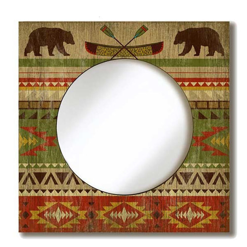 Camp Blanket Mirror, Red Horse Signs, southwest lodge pattern, brown bear, canoe with ores, printed on distressed wood, great gift for the camper or outdoorsman.
