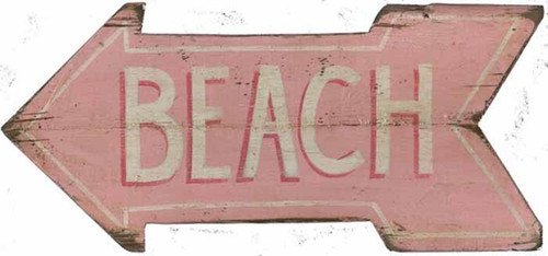 "Pink Beach Arrow, Red Horse Signs, wood wall art, pink arrow with the word ""beach"""