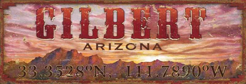 Sunset, Red Horse Signs, wooden vintage sign this one says Gilbert, Arizona with its coordinates