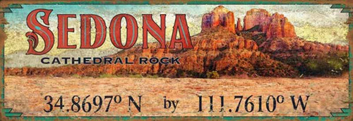 Sedona, Cathedral Rock, Red Horse Signs, vintage wooden art, If you have been to Sedona, Arizona, then you are familiar with Cathedral Rock at sunset.