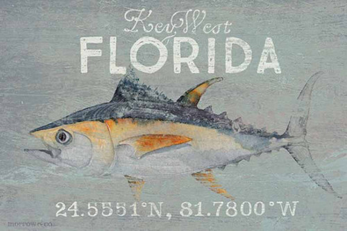 Tuna, Red Horse Signs, vintage poster of tuna fish on gray background, sign says Key West with coordinates.