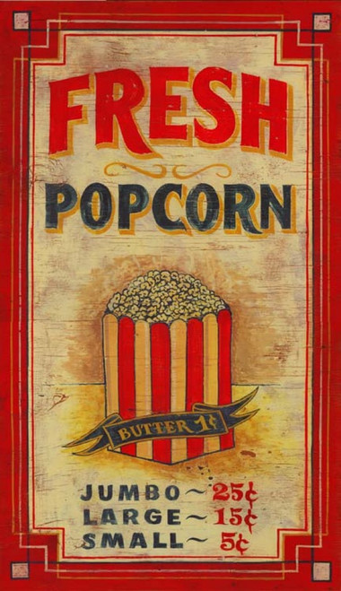 Popcorn, Red Horse Signs, vintage poster on wood, fresh popcorn in red and white striped bag, butter 1 cent. Is this not too cute? Perfect gift for an avid cinephile