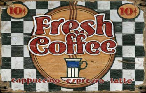 Fresh Coffee, vintage art on wood, Red Horse Signs,  black and white checkerboard background, steaming cup of coffee, 10 cents