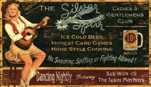 Silver Spurs, Red Horse Signs, wood wall art,  a blonde cowgirl in white boots and black hat plays a guitar, while advertising beer, cards, and home style cooking at a ladies and gentlemen's club