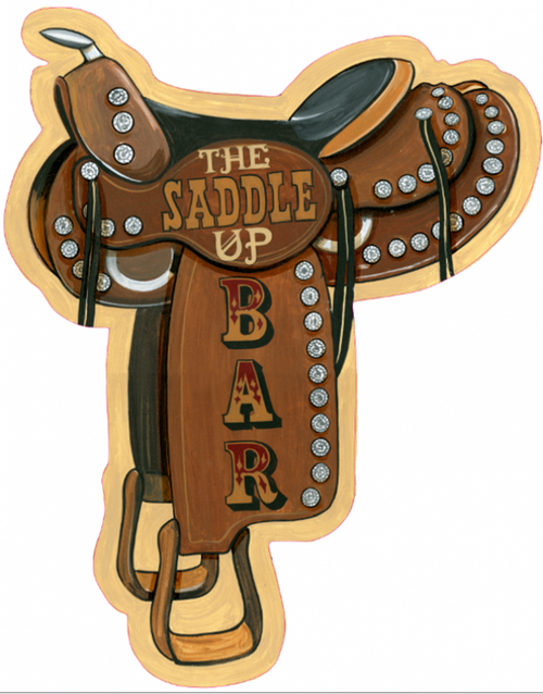 Saddle Up Bar, Red Horse Signs, vintage wall art on wood, measures 28 by 24 inches, a western themed saddle for your family room or den, giddy-up