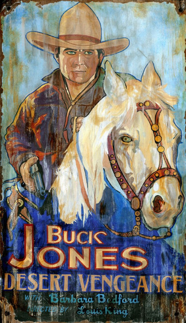 Desert Vengeance, Red Horse Signs, vintage movie poster on wood, another Buck Jones movie, Buck rides a white horse and wears a white hat, co-star Barbara Bedford