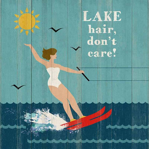 "Lake Hair, Red Horse Signs, vintage art on wood, brunette girl in white swimsuit water skis with words ""lake hair don't care"""