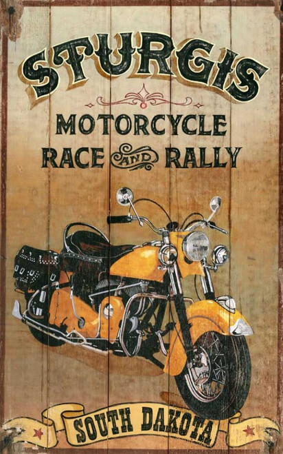 Sturgis Motorcycle Race & Rally, vintage art on wood, Red Horse Signs, measures 26 by 15 inches, image of yellow Harley motorcycle, and state name, South Dakota. Great gift for the fan of the open road
