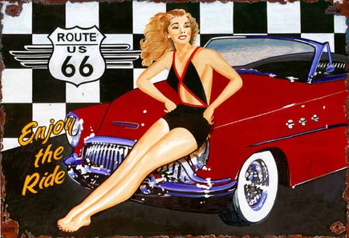 Route 66, Red Horse Signs, vintage art on wood, a nostalgic look to the past, red convertible car, hot blonde girl, get your kicks on Route 66