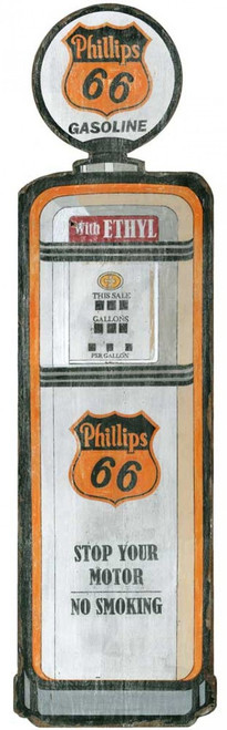 Phillips 66 gas pump, Red Horse Signs, vintage art on wood, filler up with your own antique gas pump.