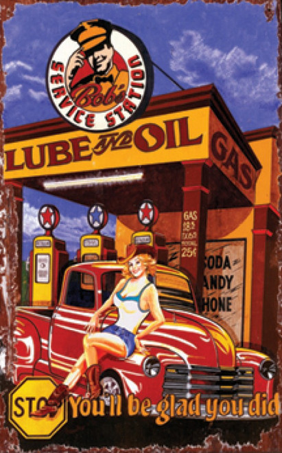 Lube and Oil, Red Horse Signs, vintage art, stop at Bob's Service Station, girl in cowgirl hat waits to service your car, you will be glad you did