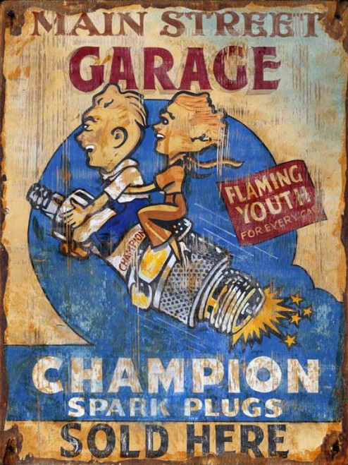 Champion Spark Plugs, Red Horse Signs, vintage art on wood,  retro image of boy and girl riding a Champion Spark Plug at the Main Street Garage