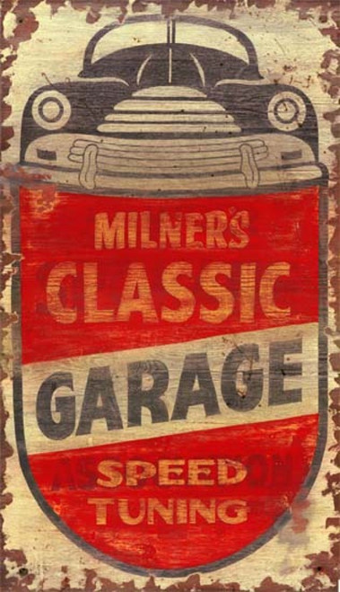 Milner's, Red Horse Signs, vintage art on wood, image of classic car and garage, primary colors brown and red